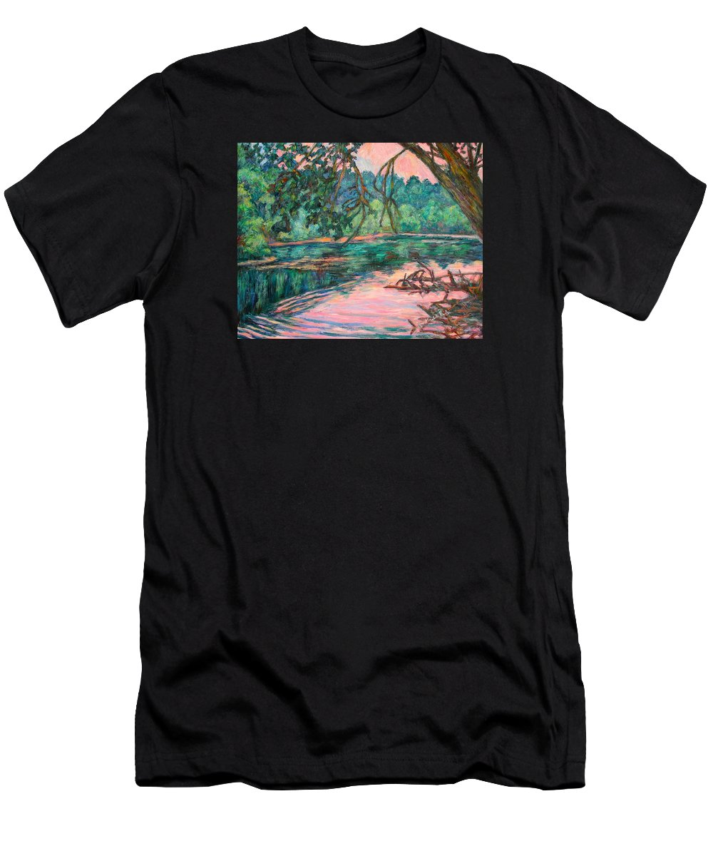 Riverview Park Men's T-Shirt (Athletic Fit) featuring the painting Riverview At Dusk by Kendall Kessler