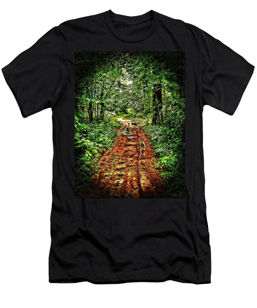 Forest Road Men's T-Shirt (Athletic Fit) featuring the photograph Road In The Wilderness by Mark Sellers
