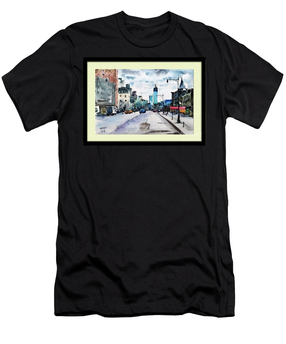 Cityscapes Men's T-Shirt (Athletic Fit) featuring the painting New York City by Sanjay Das