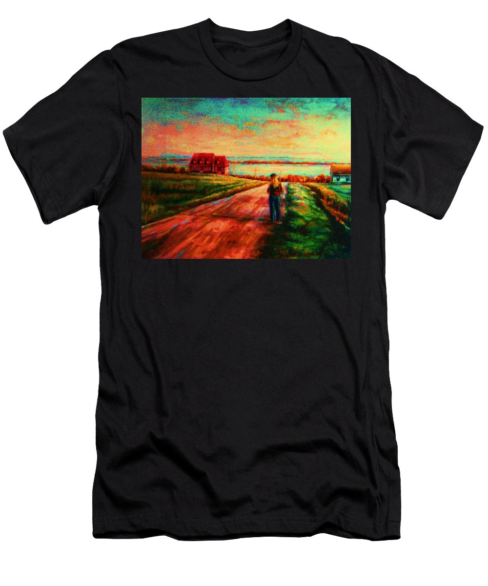 Mystery Road Men's T-Shirt (Athletic Fit) featuring the painting Road To Red Gables by Carole Spandau