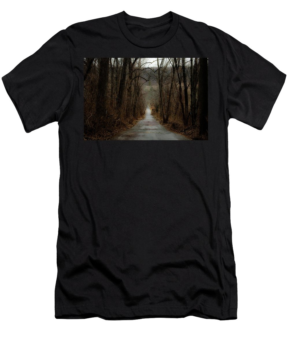 Trees Men's T-Shirt (Athletic Fit) featuring the photograph Road To Wildlife by Trish Tritz