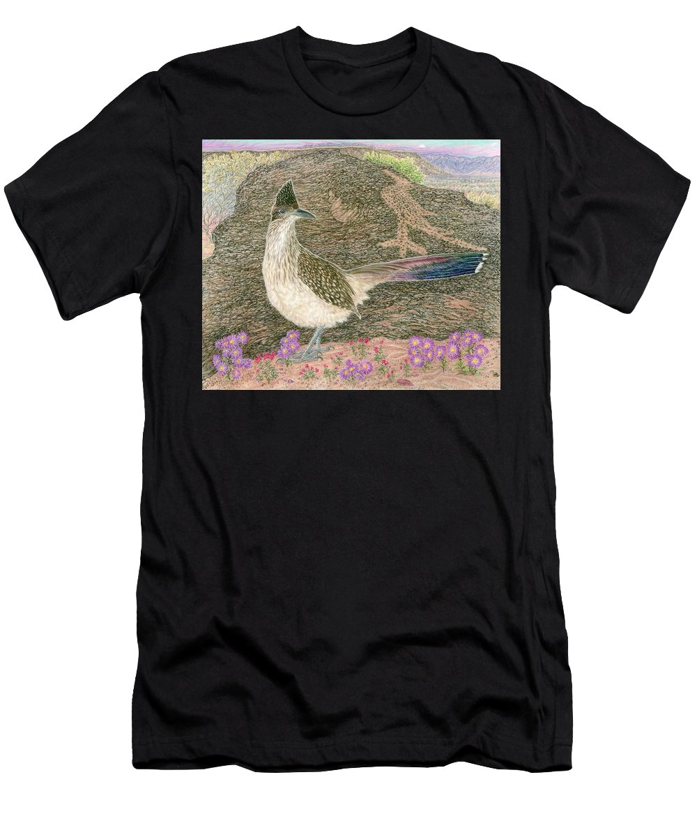 Roadrunner Men's T-Shirt (Athletic Fit) featuring the drawing Roadrunner by Tim McCarthy