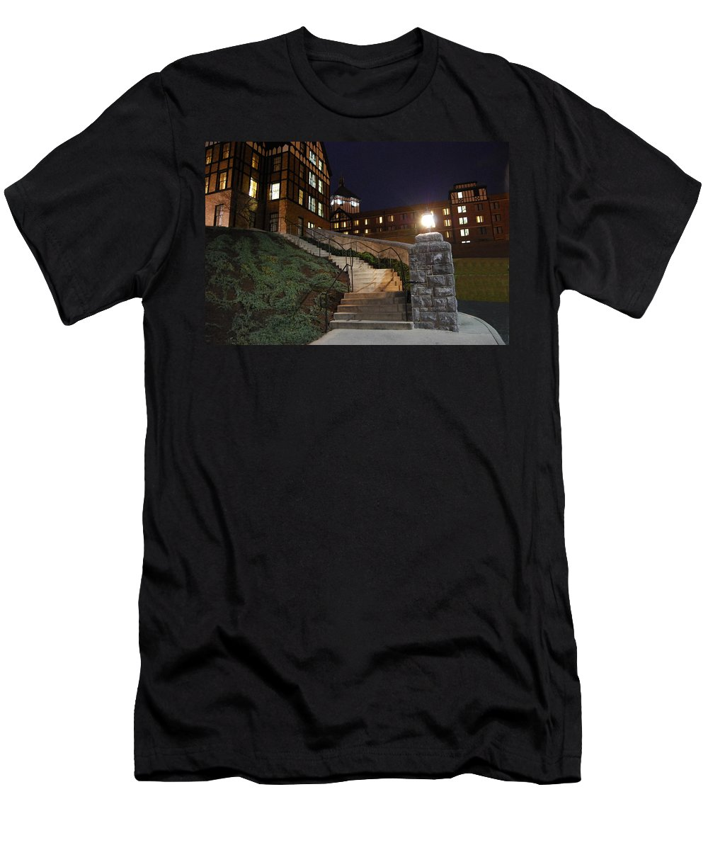 Steps Men's T-Shirt (Athletic Fit) featuring the photograph Roanoke Steps by Eric Liller