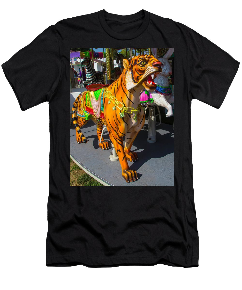 Tiger Men's T-Shirt (Athletic Fit) featuring the photograph Roaring Tiger Ride by Garry Gay