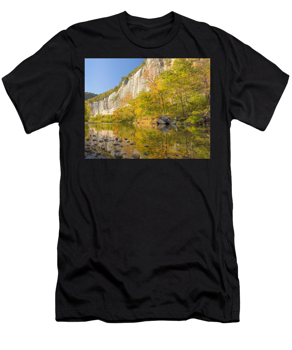 Buffalo Men's T-Shirt (Athletic Fit) featuring the photograph Roark Bluff Reflections by John Bingaman