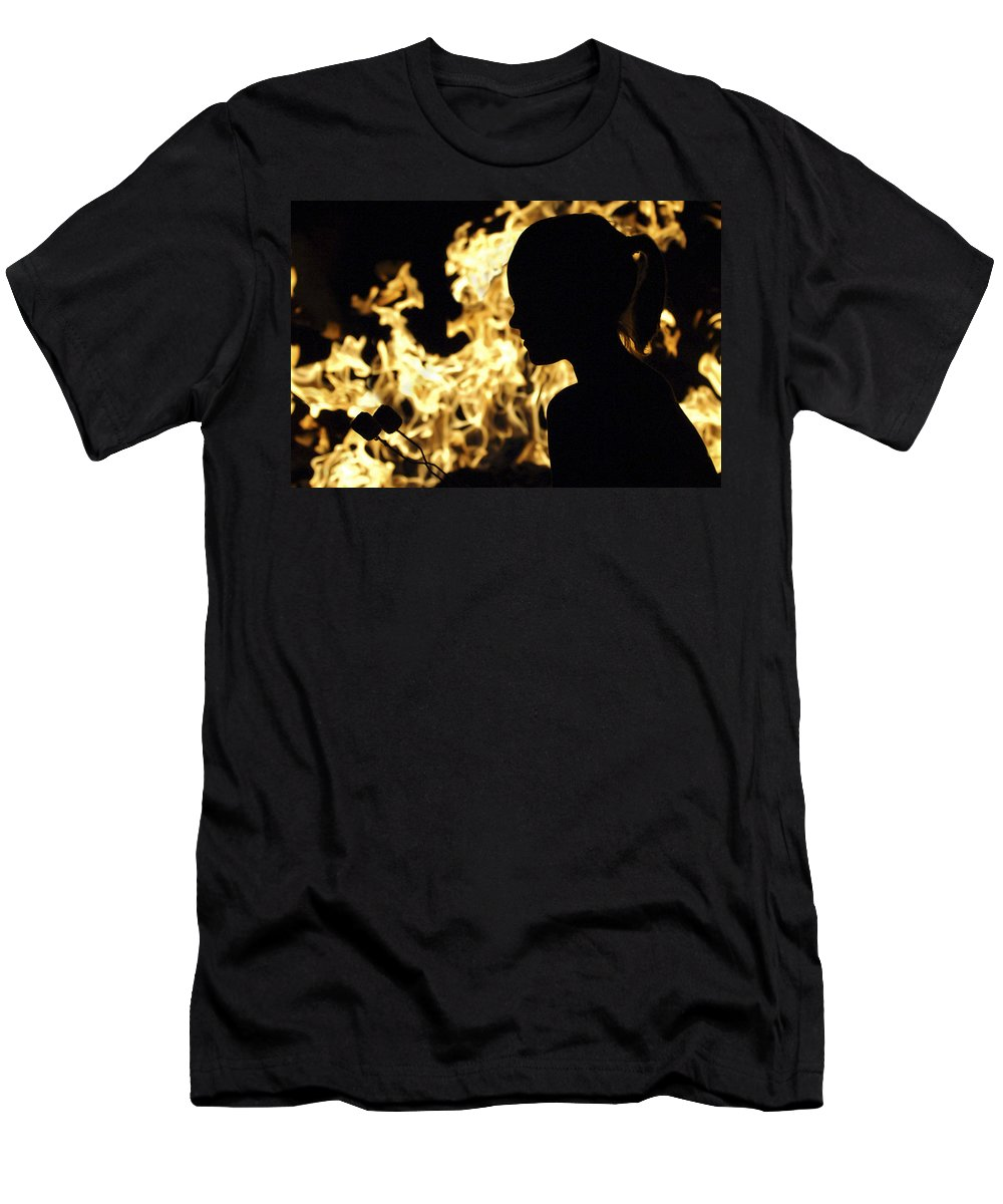 Fire Men's T-Shirt (Athletic Fit) featuring the photograph Roasting Marshmallows Over An Open Fire by Jill Reger