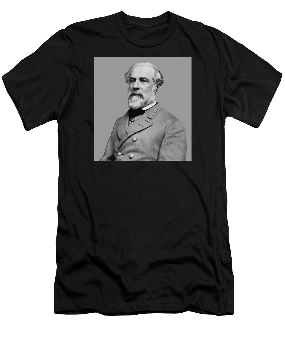 Robert E Lee Men's T-Shirt (Athletic Fit) featuring the painting Robert E Lee - Confederate General by War Is Hell Store