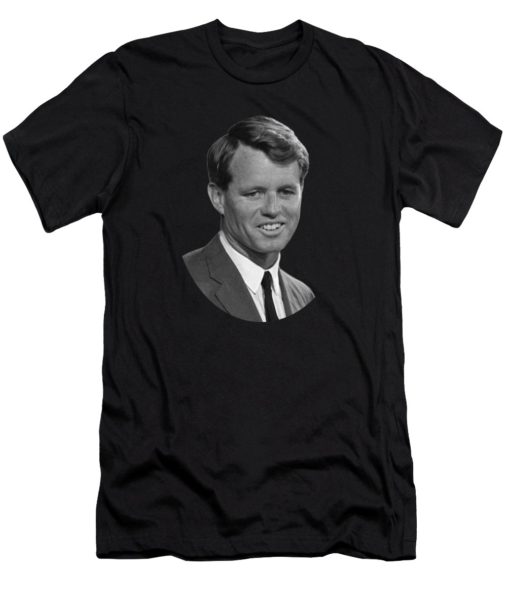 Rfk Men's T-Shirt (Athletic Fit) featuring the photograph Bobby Kennedy by War Is Hell Store