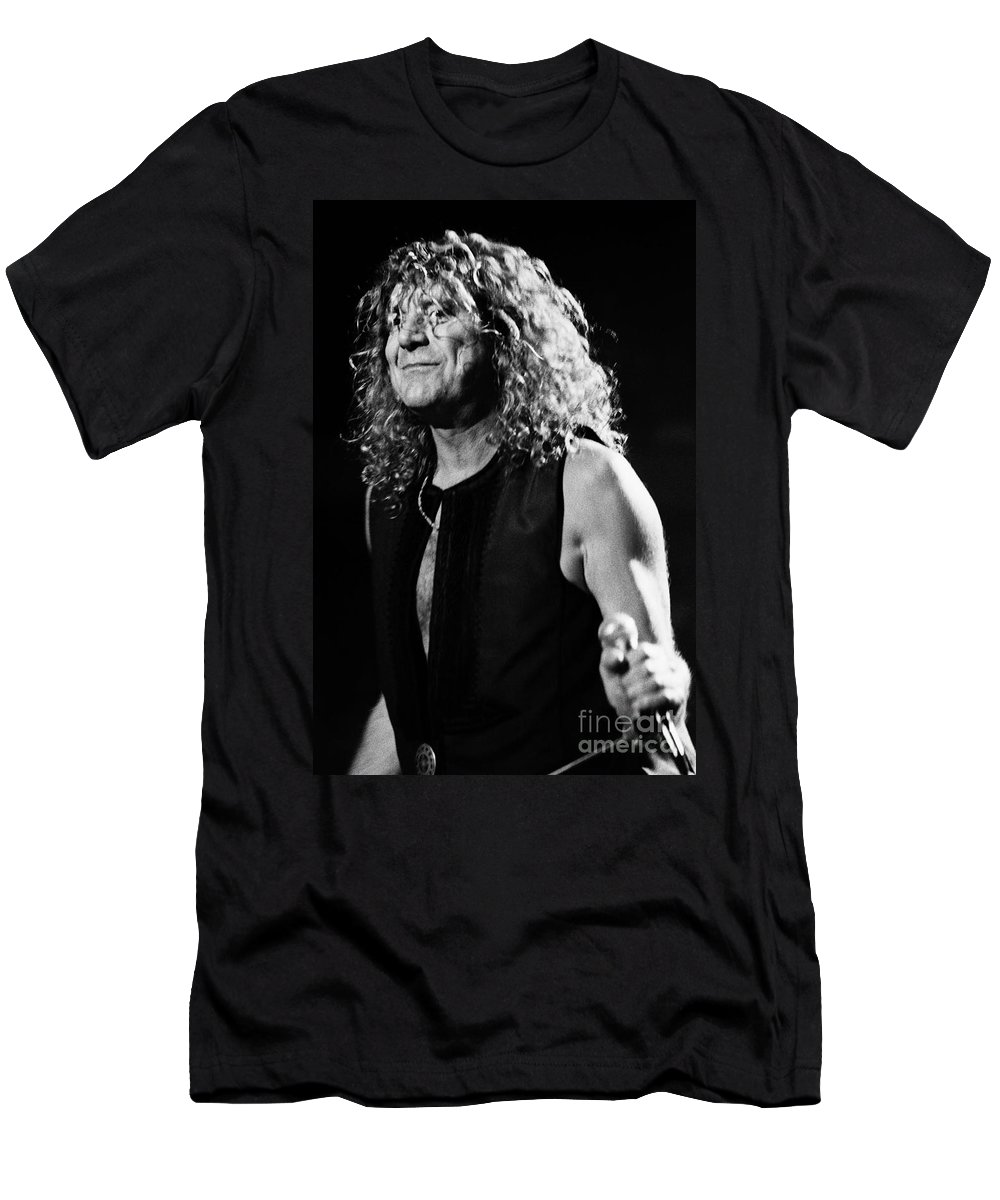 Robert Plant Men's T-Shirt (Athletic Fit) featuring the photograph Robert Plant-0039 by Timothy Bischoff
