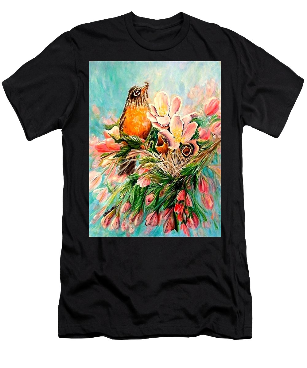 Robins Men's T-Shirt (Athletic Fit) featuring the painting Robin Hood by Carol Allen Anfinsen