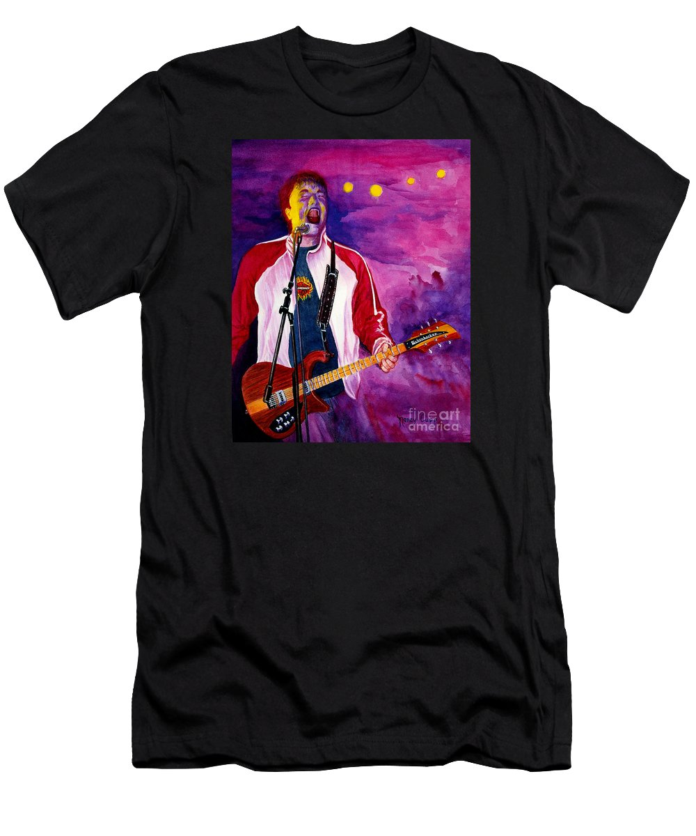 Rock And Roll Men's T-Shirt (Athletic Fit) featuring the painting Rock On Tom by Nancy Cupp