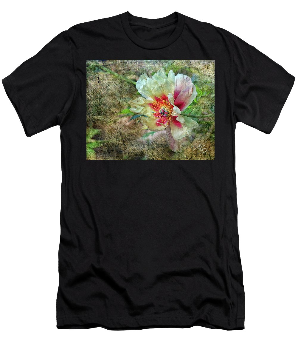 Flower Men's T-Shirt (Athletic Fit) featuring the photograph Rock Peony by Debra Baldwin
