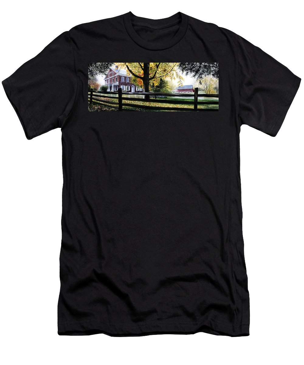 Lancaster County Pa Men's T-Shirt (Athletic Fit) featuring the painting Rockford In Autumn by Denny Bond