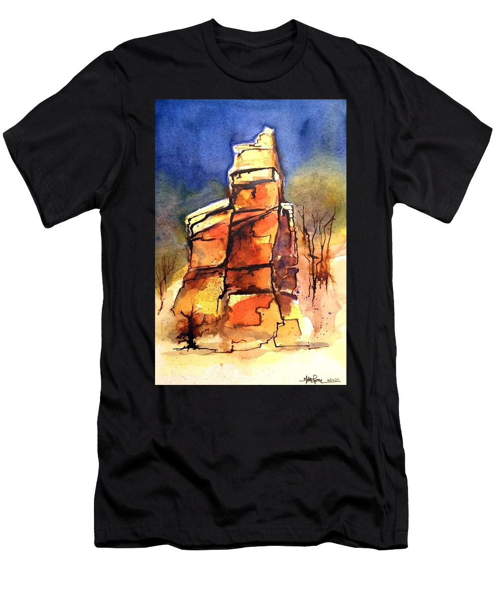Men's T-Shirt (Athletic Fit) featuring the painting Rocks Of Lovett by Michael Rome