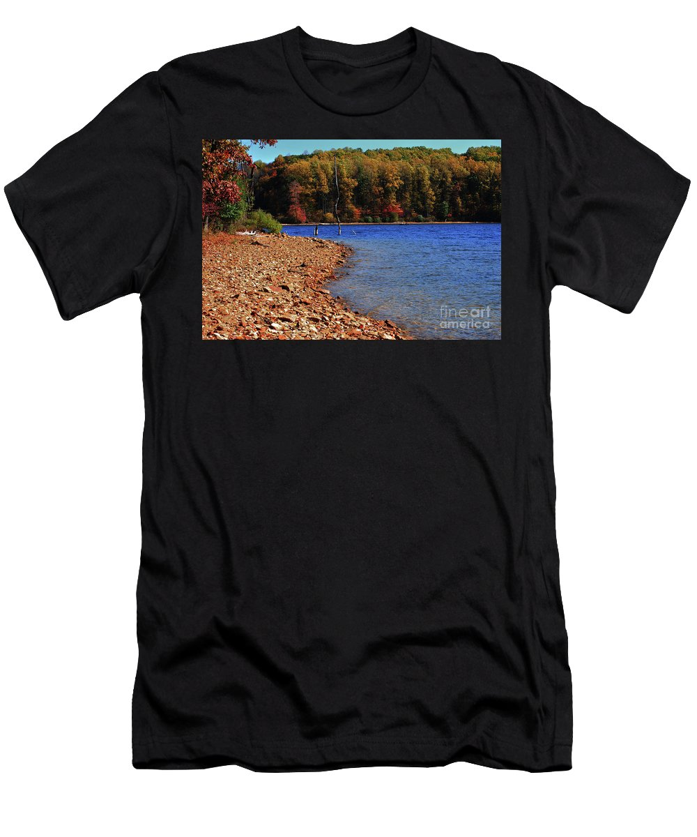 Beach Men's T-Shirt (Athletic Fit) featuring the photograph Rocky Beach by Lori Tambakis