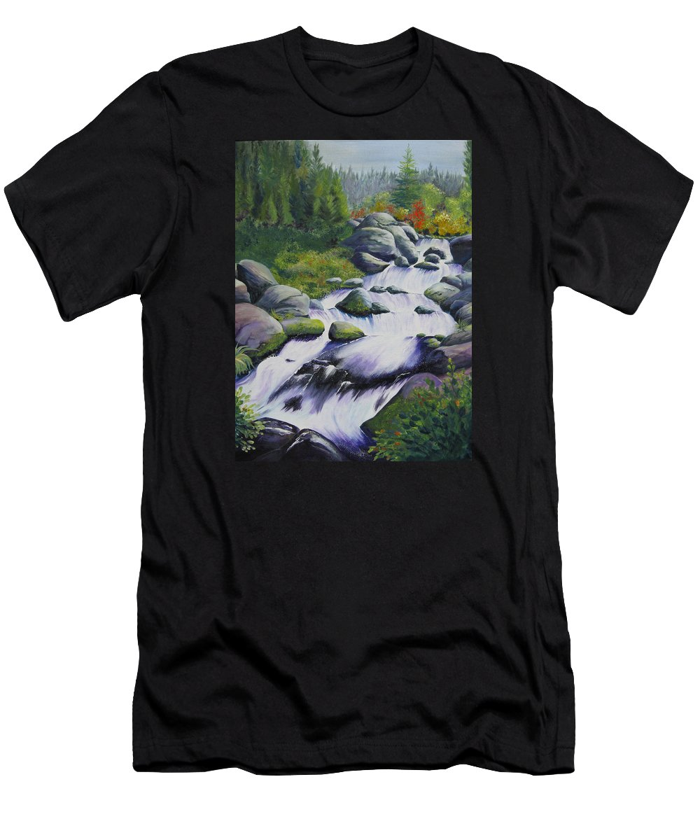 Waterfall Men's T-Shirt (Athletic Fit) featuring the painting Rocky Creek by Karen Stark