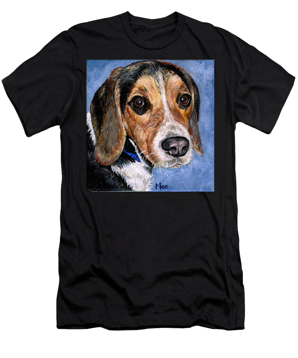 Dog Men's T-Shirt (Athletic Fit) featuring the painting Rocky by Mary-Lee Sanders