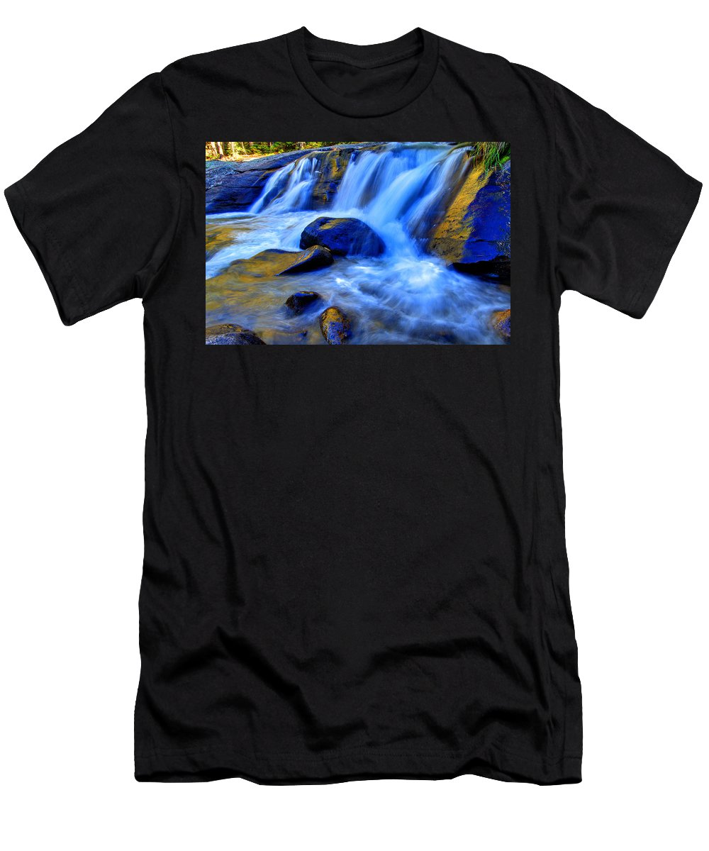 Cascade Men's T-Shirt (Athletic Fit) featuring the photograph Rocky Mountain Cascade by Scott Mahon
