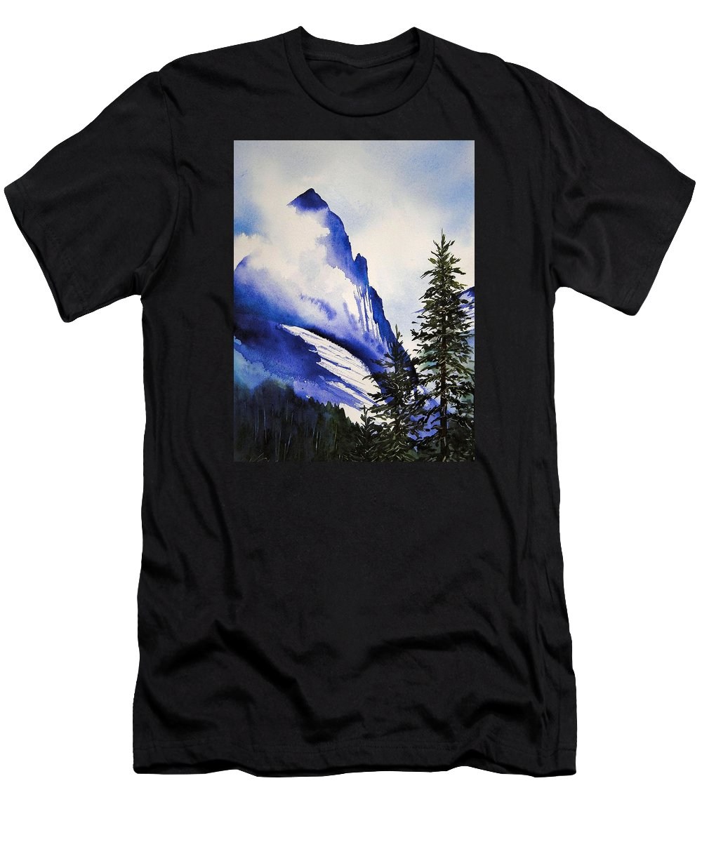 Rocky Mountains Men's T-Shirt (Athletic Fit) featuring the painting Rocky Mountain High by Karen Stark