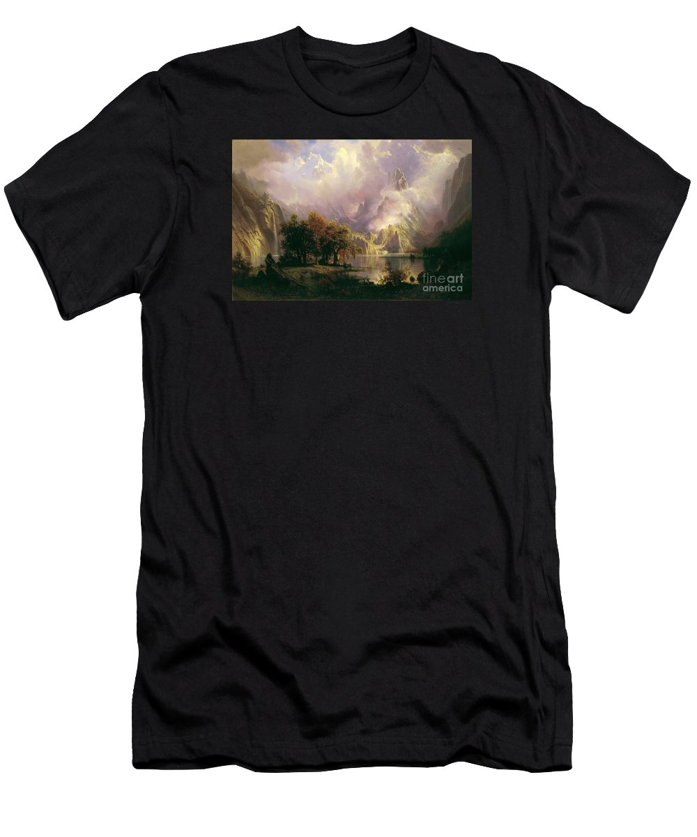 Albert Bierstadt - Rocky Mountain Landscape Men's T-Shirt (Athletic Fit) featuring the painting Rocky Mountain Landscape by Celestial Images