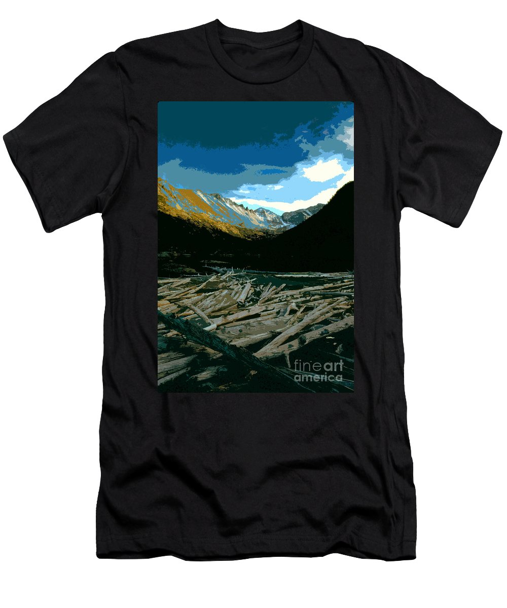 Rocky Mountain National Park Men's T-Shirt (Athletic Fit) featuring the painting Rocky Mountain National Park by David Lee Thompson