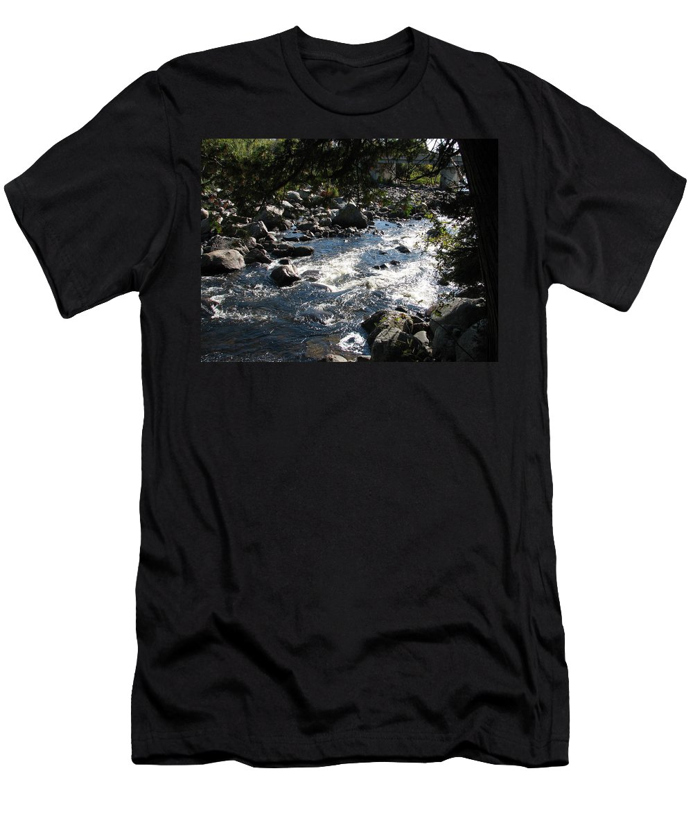 Water Men's T-Shirt (Athletic Fit) featuring the photograph Rocky Rapids by Kelly Mezzapelle