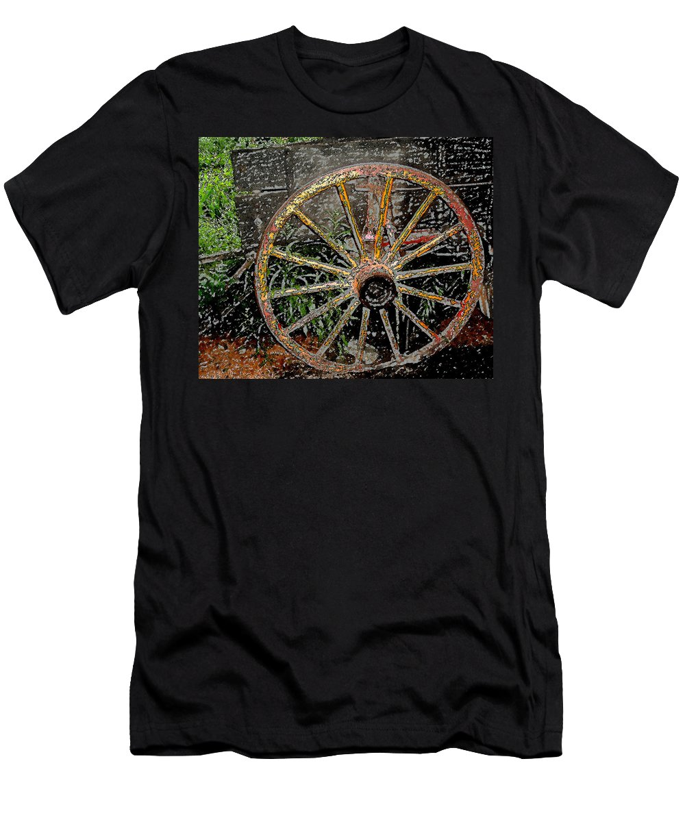 Wagon Wheel Men's T-Shirt (Athletic Fit) featuring the photograph Rolling No More by Wayne Potrafka