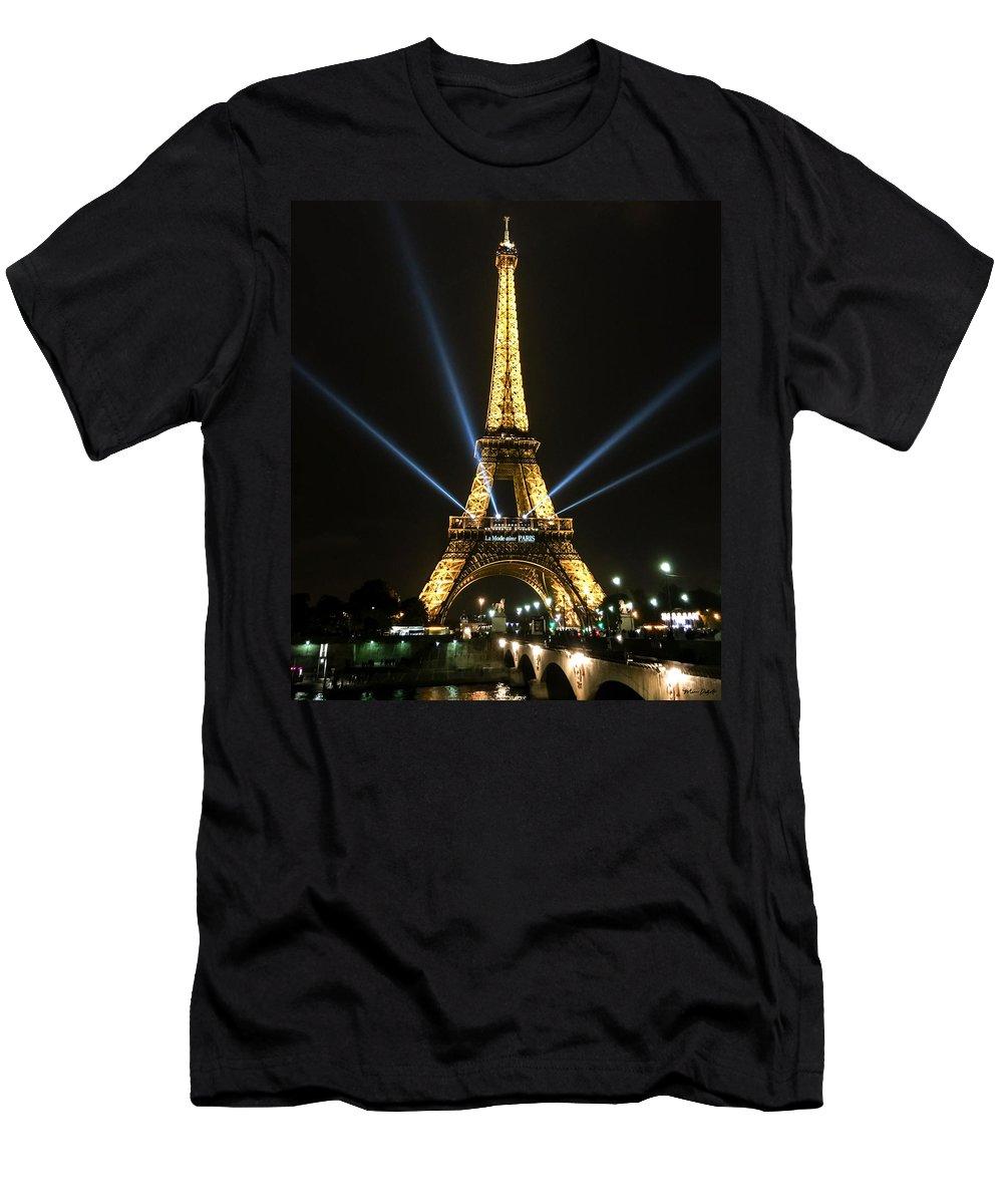 Paris Men's T-Shirt (Athletic Fit) featuring the digital art Romantic Night In Paris by Mia DeBolt