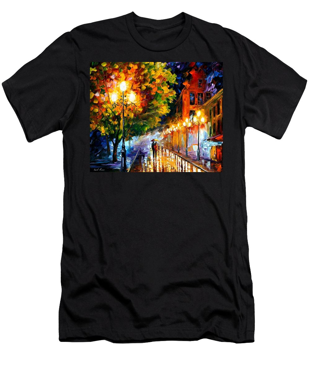 Afremov Men's T-Shirt (Athletic Fit) featuring the painting Romantic Night by Leonid Afremov