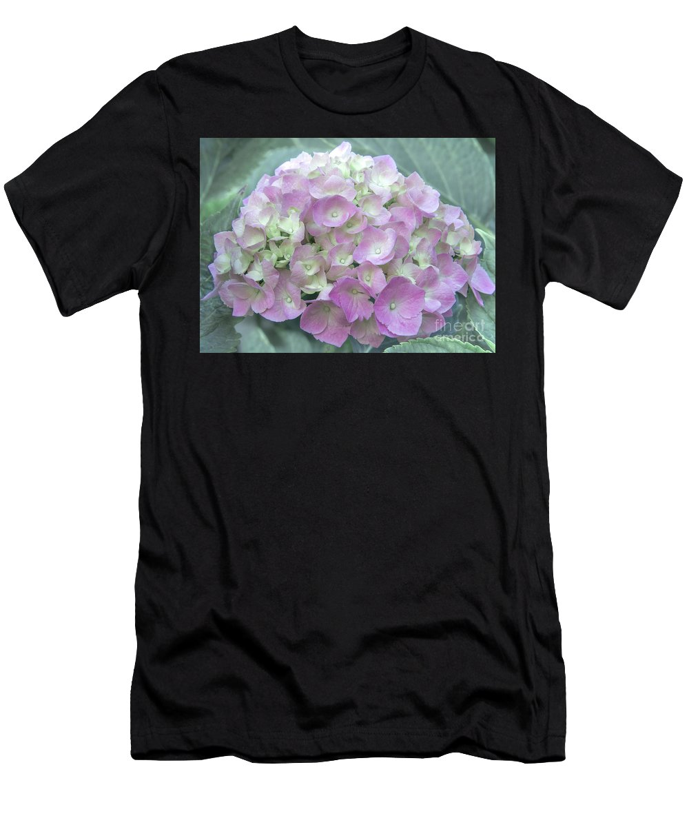 Hydrangea Men's T-Shirt (Athletic Fit) featuring the photograph Romantic Pink Hydrangea by Amy Sorvillo