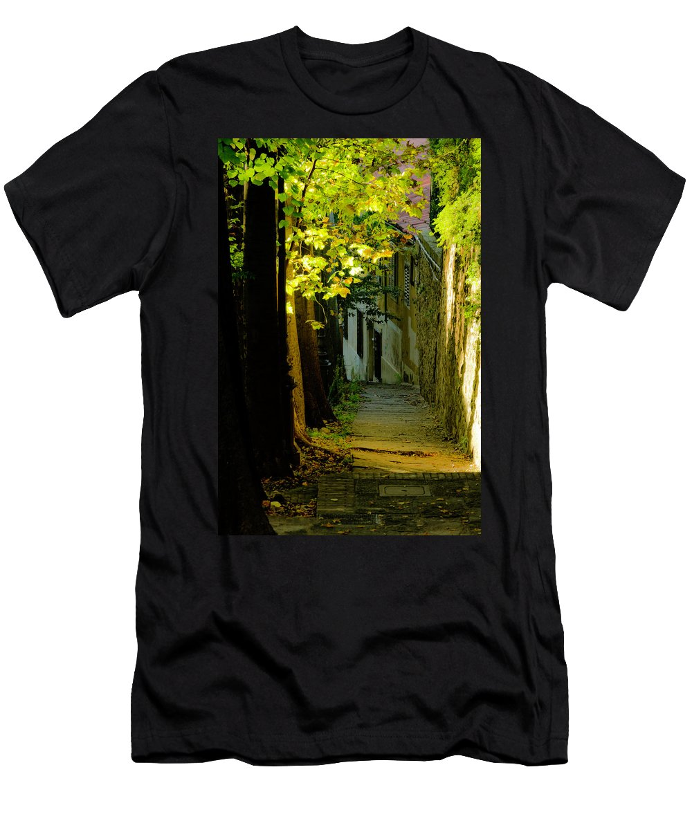 Sidewalk Men's T-Shirt (Athletic Fit) featuring the photograph Romantic Sidewalk by Wolfgang Stocker