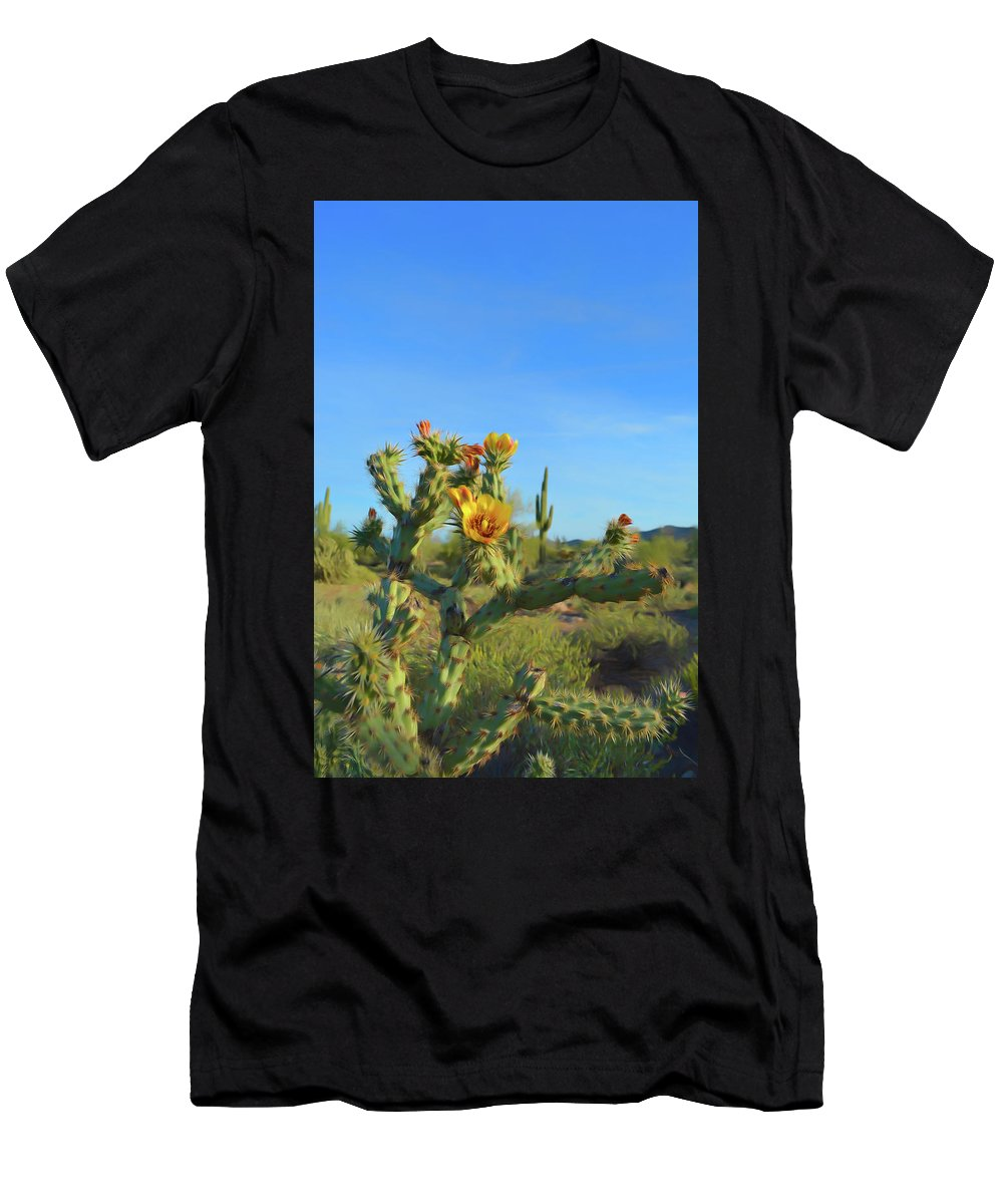 Cactus Men's T-Shirt (Athletic Fit) featuring the photograph Romantic Skies Desert Bloom by Aimee L Maher ALM GALLERY