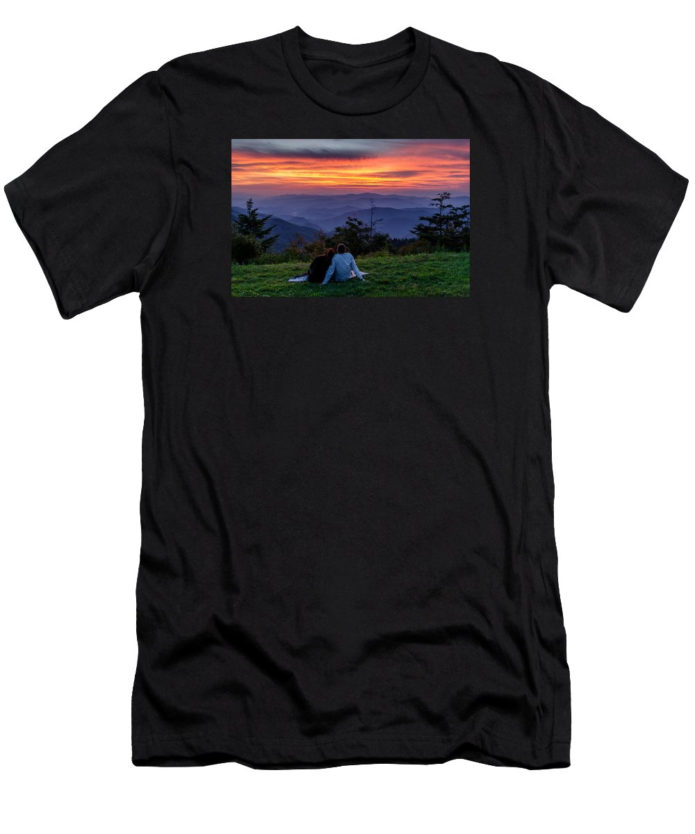 Smokies Men's T-Shirt (Athletic Fit) featuring the photograph Romantic Smoky Mountain Sunset by Eric Albright
