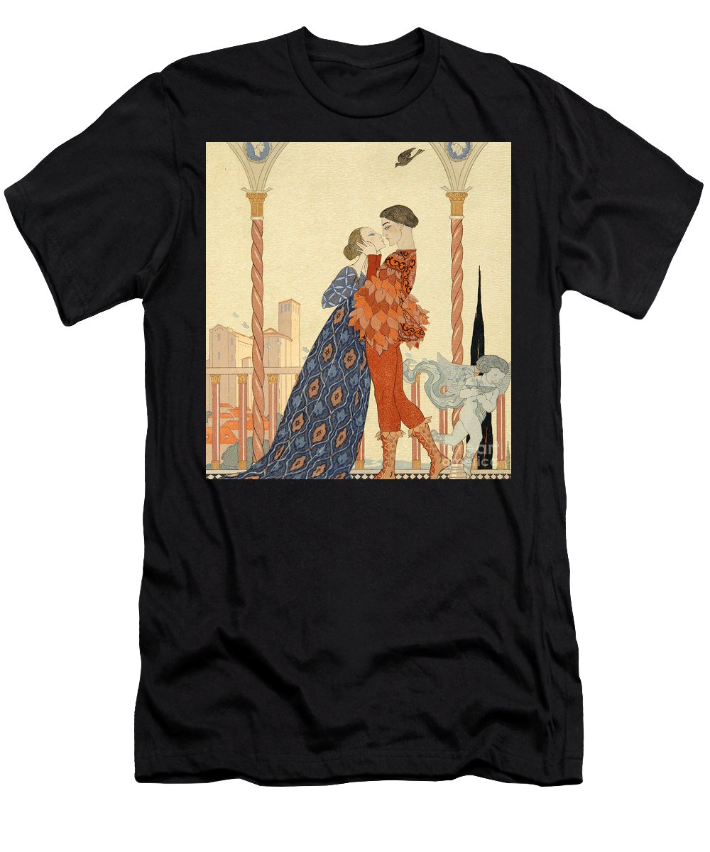 Romeo Men's T-Shirt (Athletic Fit) featuring the painting Romeo And Juliette by Georges Barbier