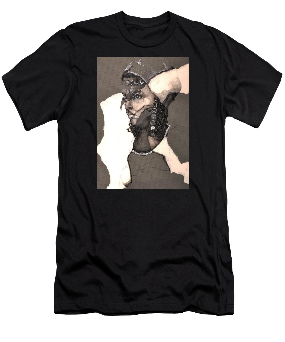 Portrait Men's T-Shirt (Athletic Fit) featuring the drawing Romni by Nelson F Martinez