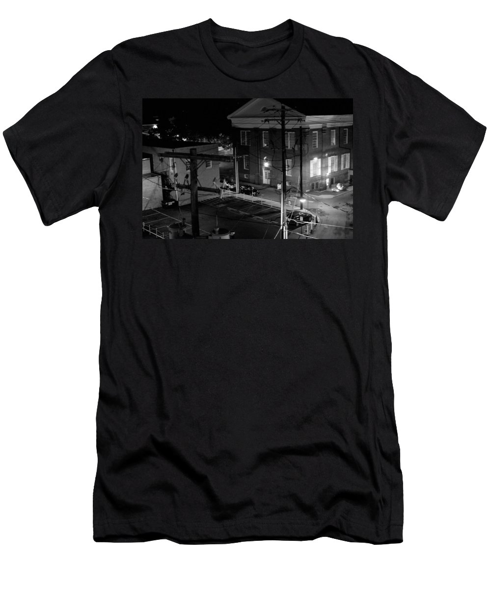 Black White Men's T-Shirt (Athletic Fit) featuring the photograph Rooftop Court by Jean Macaluso