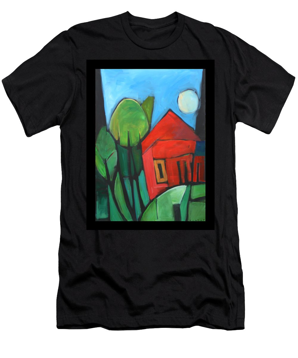 Trees Men's T-Shirt (Athletic Fit) featuring the painting Root Cellar by Tim Nyberg
