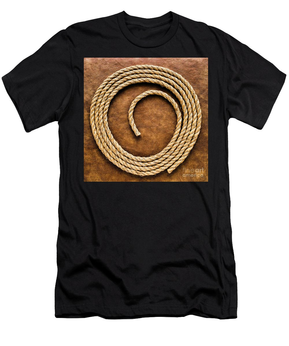 American Men's T-Shirt (Athletic Fit) featuring the photograph Rope On Leather by Olivier Le Queinec