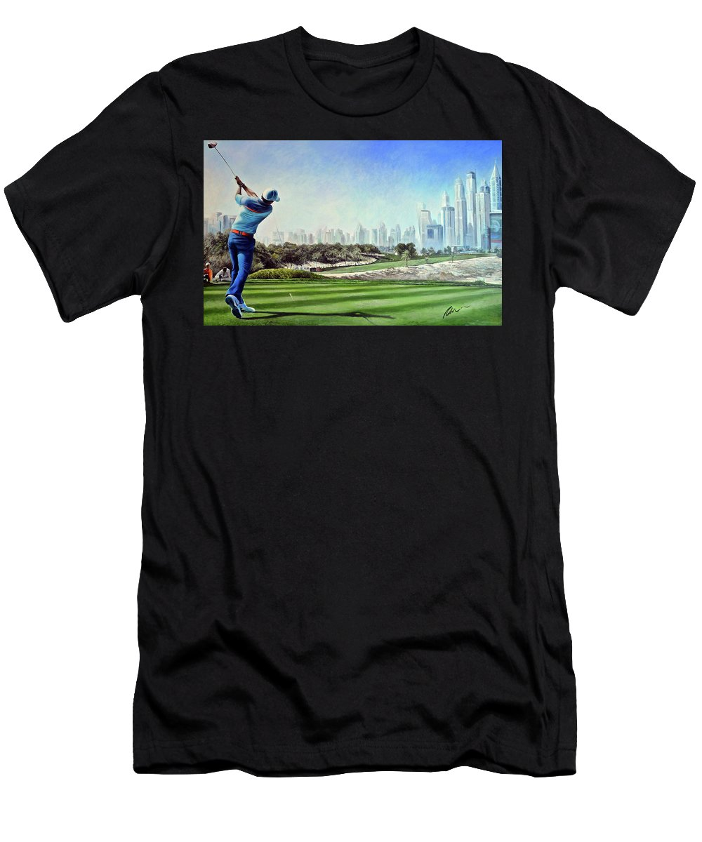 Rory Mcilroy Men's T-Shirt (Athletic Fit) featuring the painting Rory At Ddc Emirates Gc Dubai 8th 2014 by Mark Robinson