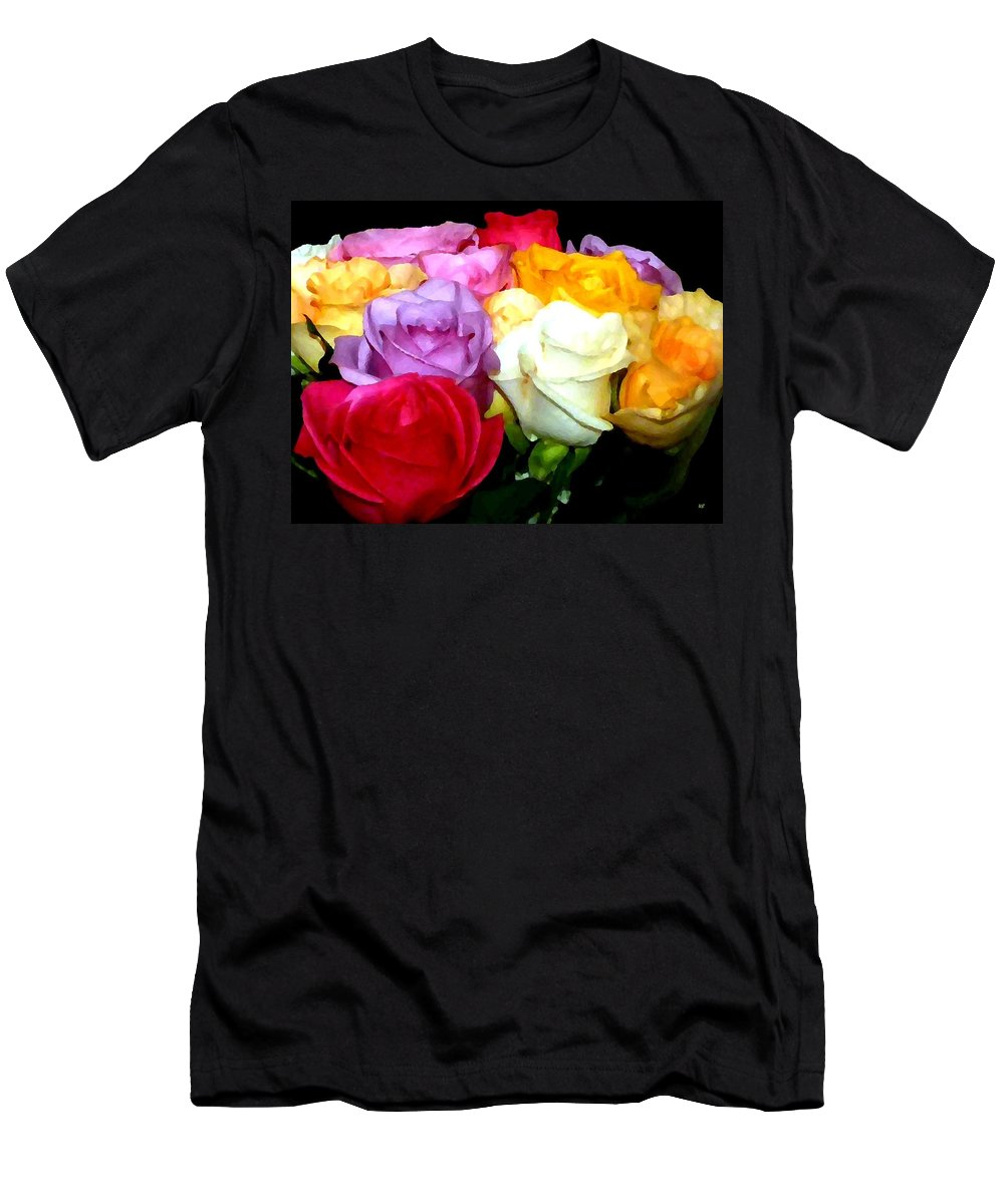 Roses Men's T-Shirt (Athletic Fit) featuring the digital art Rose Bouquet Painting by Will Borden