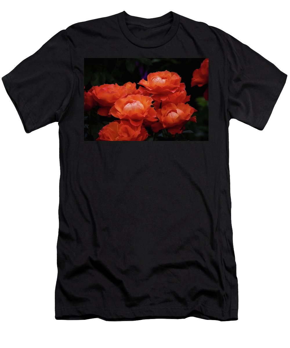 Roses Men's T-Shirt (Athletic Fit) featuring the photograph Rose Cluster by Albert Seger