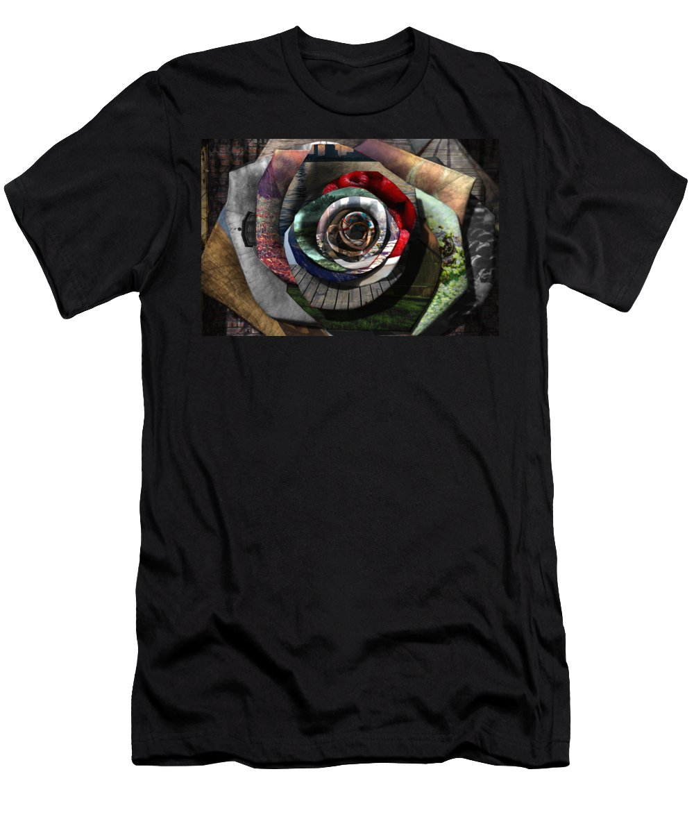 Rose Men's T-Shirt (Athletic Fit) featuring the digital art Rose - Collaged Petals by Tin Tran
