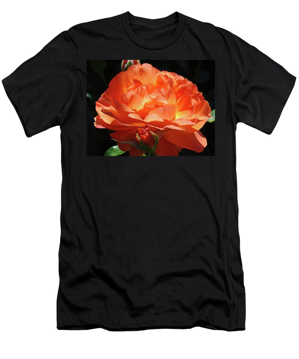 Rose Men's T-Shirt (Athletic Fit) featuring the photograph Rose Flower Art Prints Oragne Roses Summer Botanical Baslee Troutman by Baslee Troutman