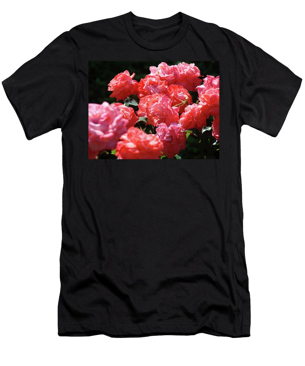 Rose Men's T-Shirt (Athletic Fit) featuring the photograph Rose Garden Art Prints Pink Red Rose Flowers Baslee Troutman by Baslee Troutman