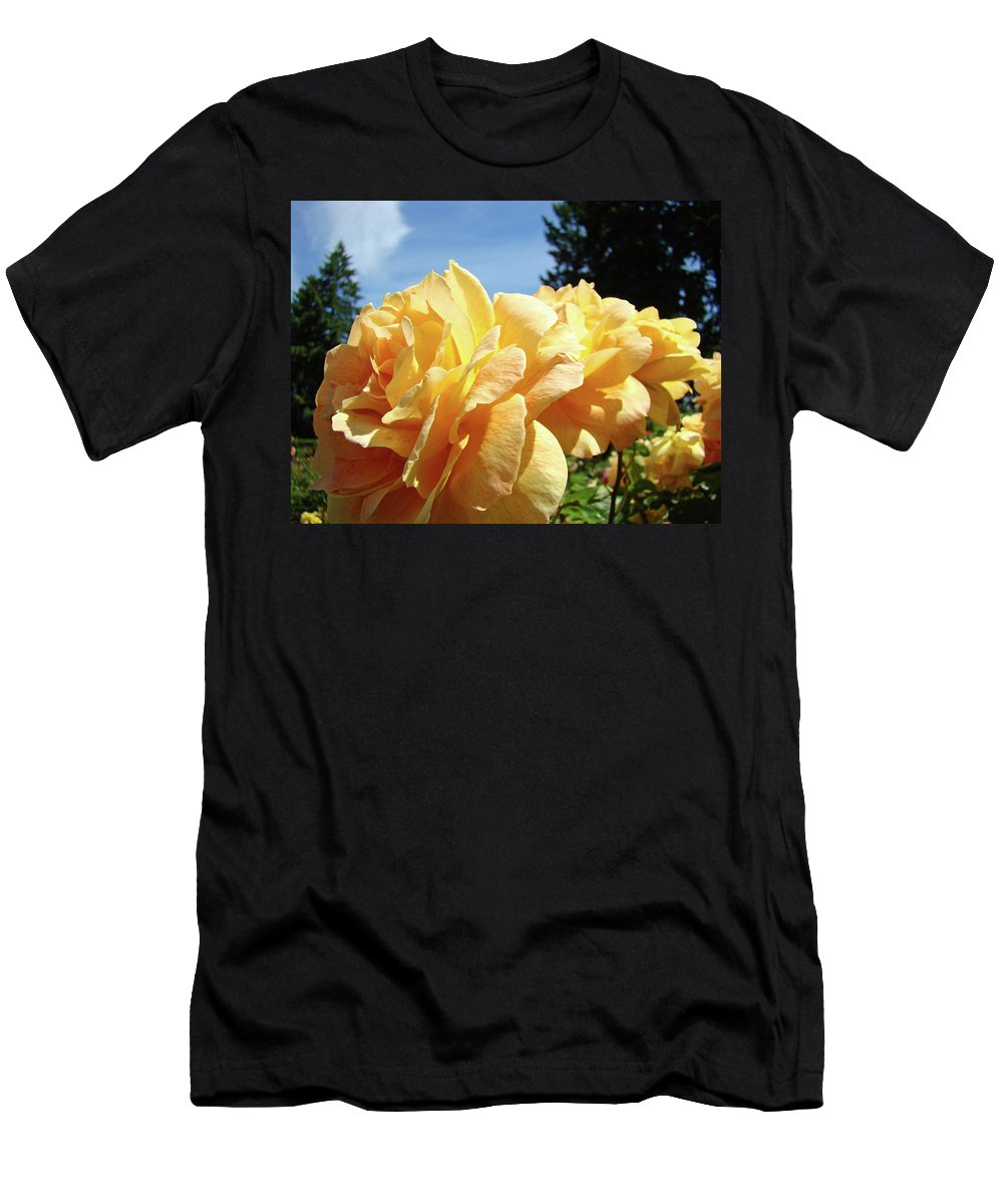 Rose Men's T-Shirt (Athletic Fit) featuring the photograph Rose Garden Yellow Peach Orange Roses Flowers 3 Botanical Art Baslee Troutman by Baslee Troutman