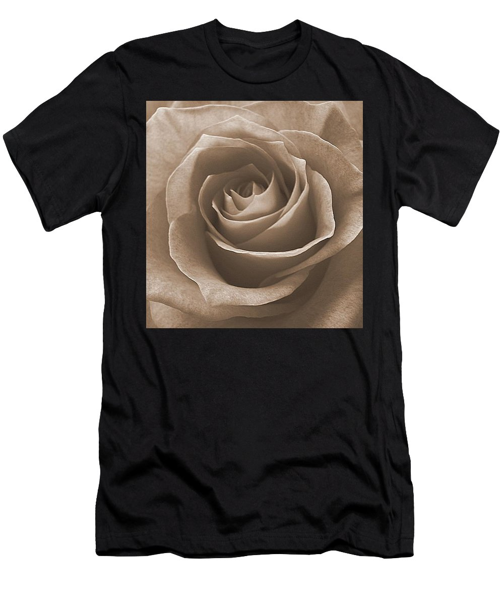 Rose Sepia Pedals Men's T-Shirt (Athletic Fit) featuring the photograph Rose In Sepia by Luciana Seymour