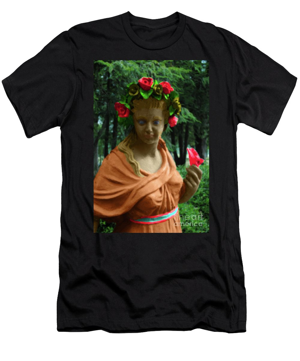 Statue Men's T-Shirt (Athletic Fit) featuring the photograph Rose Of The Garden by Jost Houk