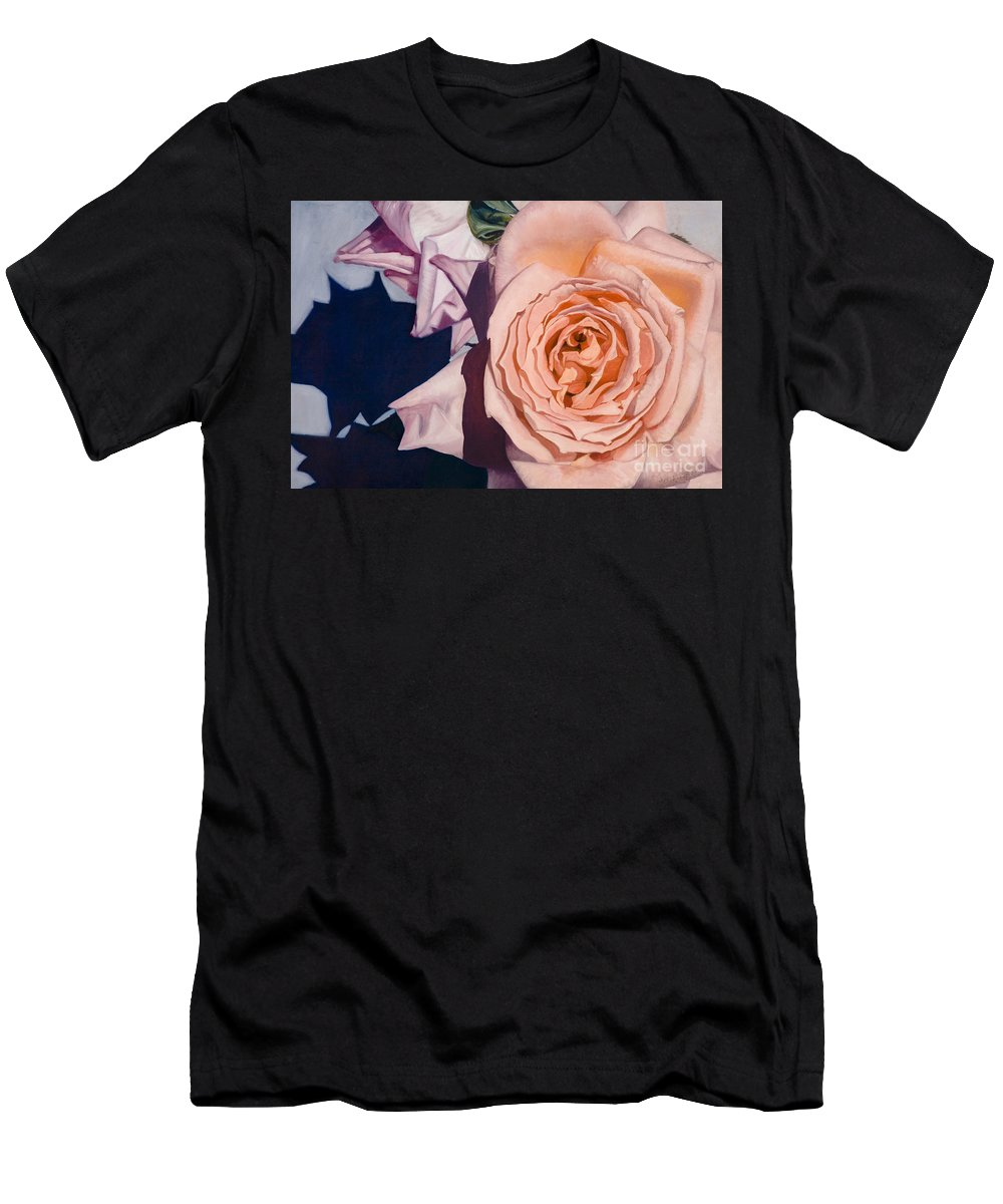 Roses Men's T-Shirt (Athletic Fit) featuring the painting Rose Splendour by Kerryn Madsen-Pietsch