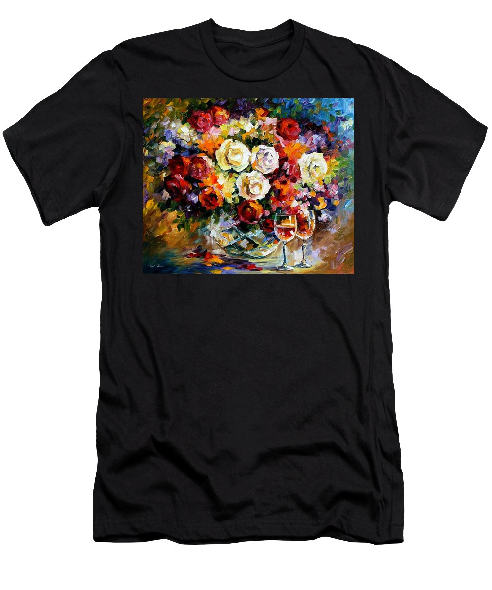 Still Life Men's T-Shirt (Athletic Fit) featuring the painting Roses And Wine by Leonid Afremov