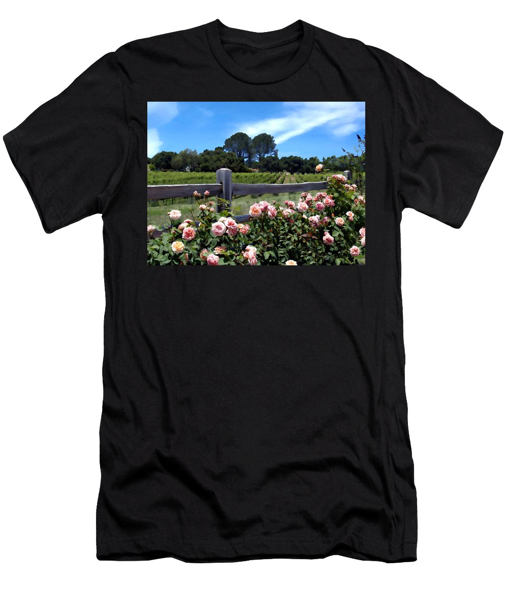Flowers Men's T-Shirt (Athletic Fit) featuring the photograph Roses At Rusack Vineyards by Kurt Van Wagner